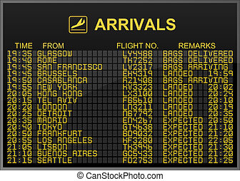 Arrivals Board - International Airport Arrivals Board