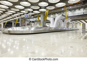 International airport baggage belt claim area. Nobody. Travel background