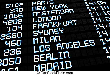 International Airport Board Display - Departures display at...
