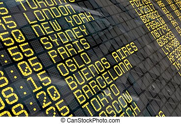 International Airport Departure Board - Close-up of an...
