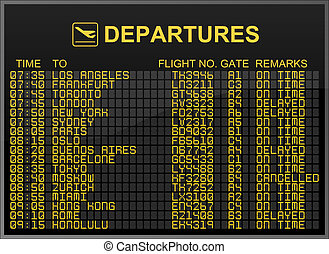 Departures Board - International Airport Departures Board