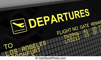 International departures board panel with environment reflection and filling characters
