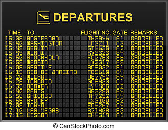 International airport departures board with all flights cancelled