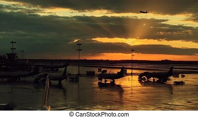 International airport landscape on sunset