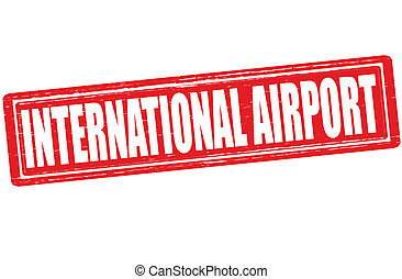 International airport - Stamp with text international ...