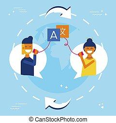 international, amis, traduction, bavarder, ligne