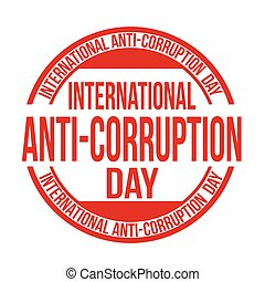 International anti-corruption day sign or stamp on white...
