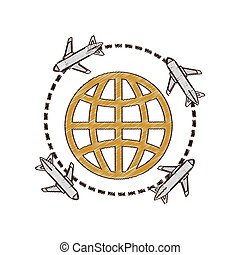 international, avion, voyage, dessin, mondiale