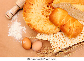 international bakery with wheat ears and eggs
