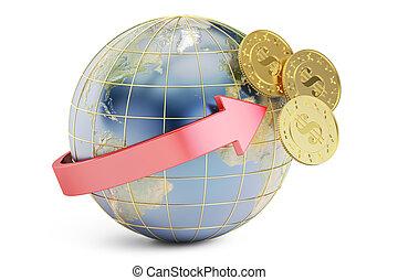 international bank transfer concept, 3D rendering