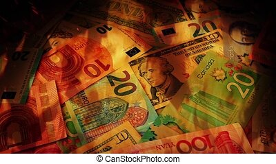 International Banknotes In Flames