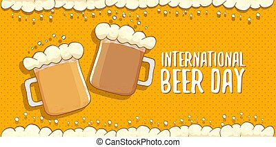 international beer day horizontal banner or poster with beer glass isolated on abstract orange beer background with foam frame. Happy beer day vintage hand drawn greeting card or flyer