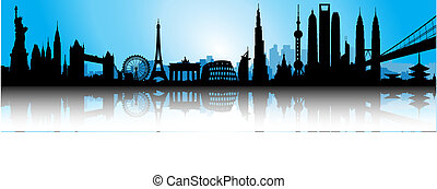 international, bleu, horizon