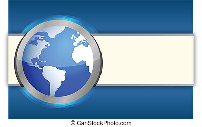 International blue business globe background