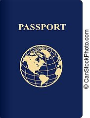 International blue passport isolated on a white background....