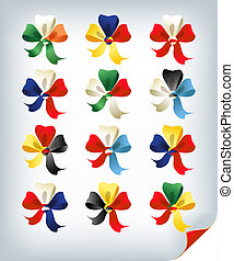 international bows - Set of international multicolored bows,...