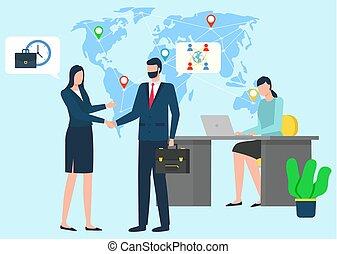 international, bureau, hommes affaires, fonctionnement, vecteur
