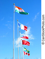 International business 1 - Flags of many countries on the...