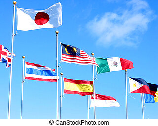 International business 2 - Flags of many countries on the...