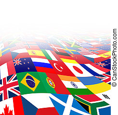 International business background with flags from the world in three dimensional perspective as a symbol of global financial trade and economy on a white background.