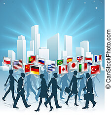 International business concept - Business people passing...
