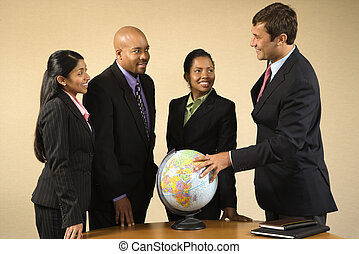 International business. - Corporate businesspeople standing...