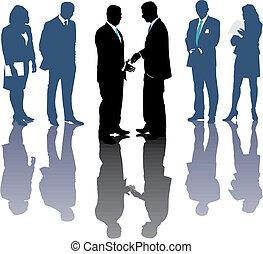 International business, money symbols, Traders, vector illustration