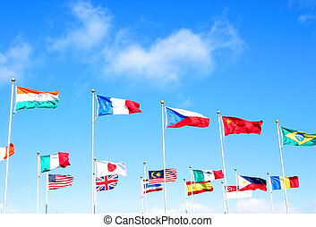 International business - Flags of many countries on the...