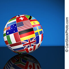 International Business Globe World Flags Concept - Travel,...