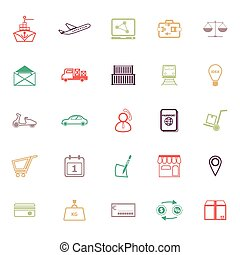International business line icons flat color