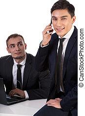 International business partner talking on phone