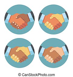 International business partnership, handshake vector icons set