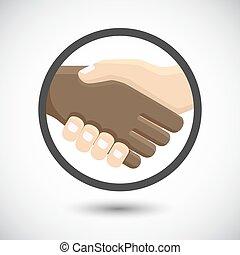 International business people shaking hands.