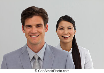 International Business people standing in a line
