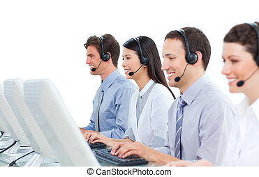 International business people talking on headset in a call...