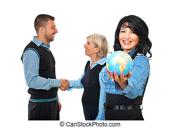 International business relationship - Happy business woman...