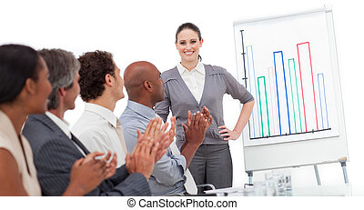 International business team applauding a good presentation
