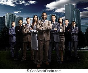 International business team over m