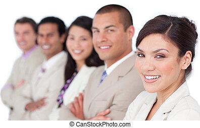 International business team standing in a line