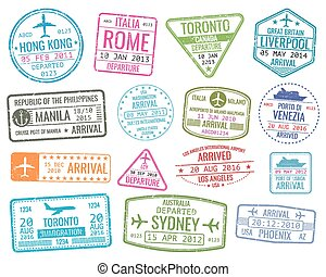 International business travel visa stamps vector arrivals...