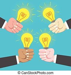 International businessman hands holding light bulb sharing Idea together in blue background