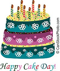 International Cake Day. July 20. Cake with candles. Vector illustration on isolated background