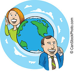 International Call - A cartoon woman and man make an...