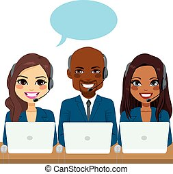 International call center service team of different ethnicities