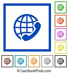 International call framed flat icons