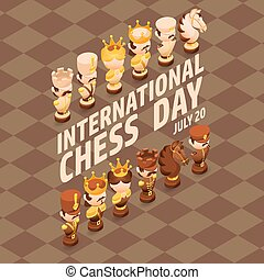 International Chess Day card. Isometric cartoon chess pieces.