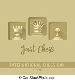 International Chess Day card. Vector chess pieces.