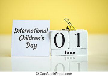 International Children Day 01 first june Month Calendar Concept on Wooden Blocks.