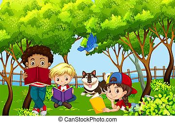 International children kids reading in the park