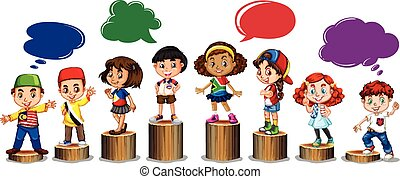 International children standing on log